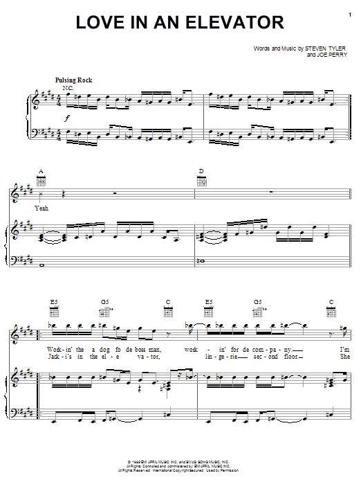 Partition piano Love In An Elevator de Aerosmith - Piano Voix Guitare (Mélodie Main Droite)