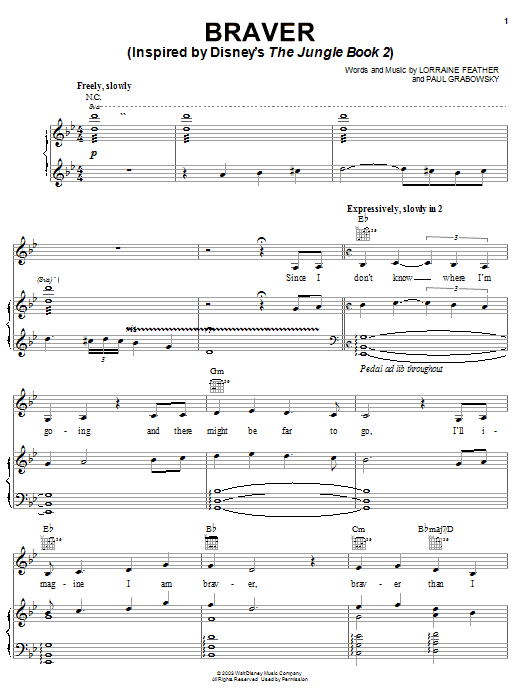 Braver (Inspired by Disney's The Jungle Book 2) Sheet Music