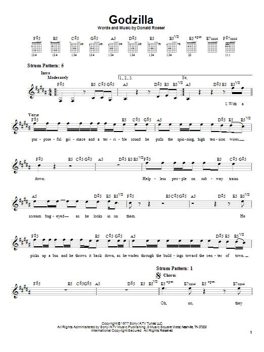 Tablature guitare Godzilla de Blue Oyster Cult - Tablature guitare facile