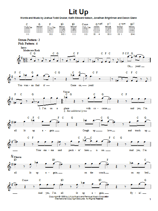 Tablature guitare Lit Up de Buckcherry - Tablature guitare facile