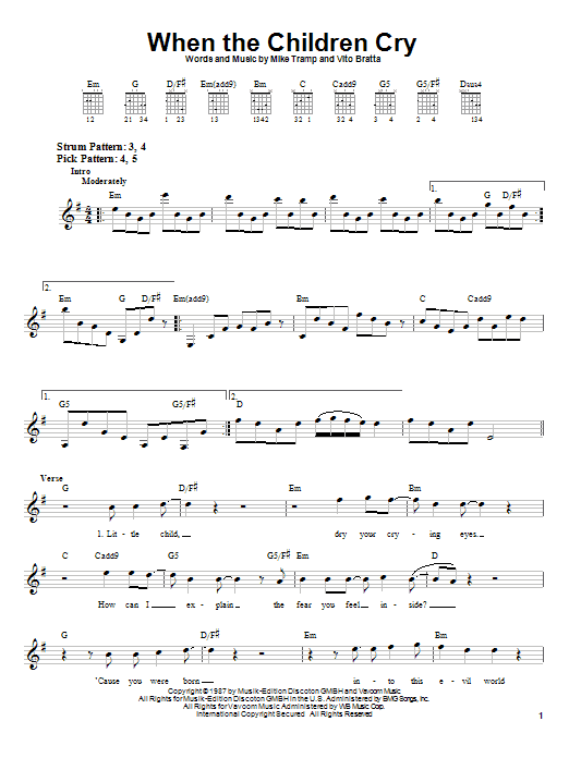 When The Children Cry Sheet Music White Lion Easy Guitar