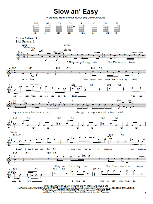 Slow An' Easy Sheet Music