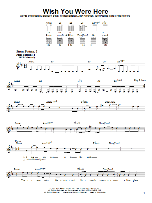 Guitar guitar tablature wish you were here : Wish You Were Here sheet music by Incubus (Easy Guitar – 22720)