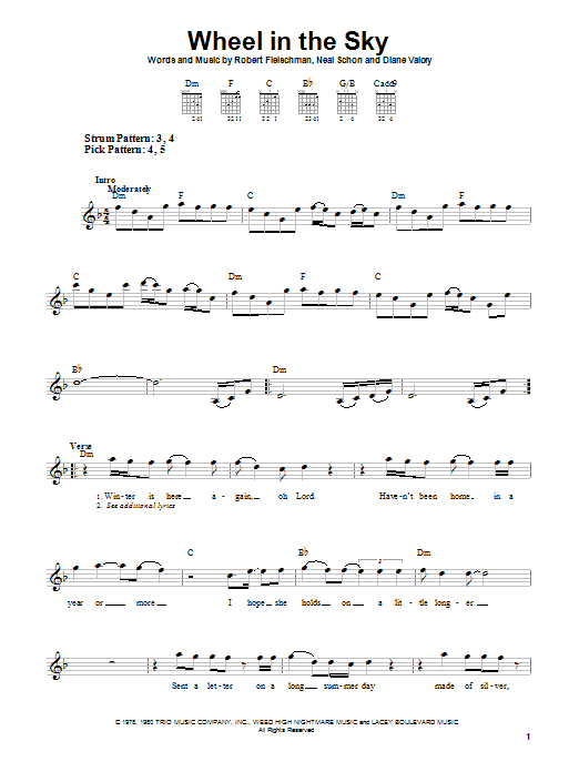 Wheel In The Sky Sheet Music