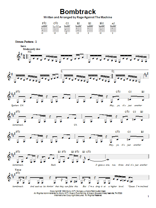 Tablature guitare Bombtrack de Rage Against The Machine - Tablature guitare facile