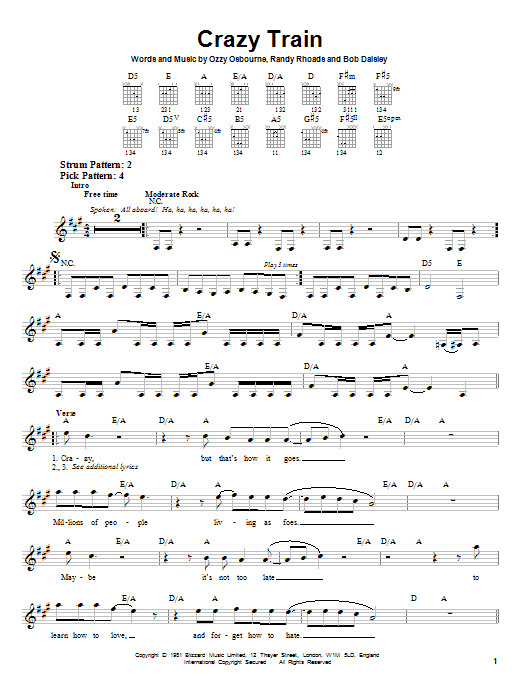 Tablature guitare Crazy Train de Ozzy Osbourne - Tablature guitare facile