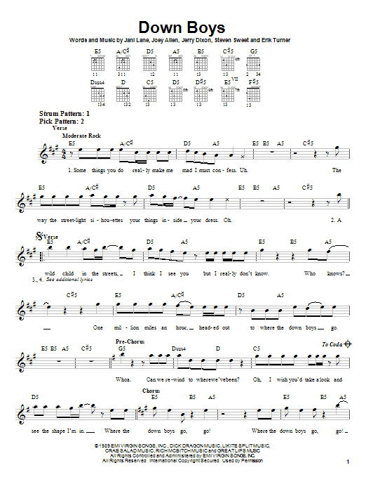 Tablature guitare Down Boys de Warrant - Tablature guitare facile