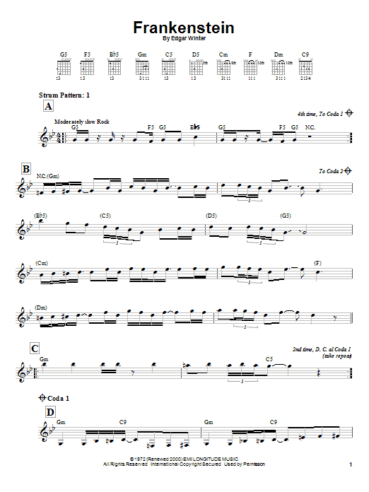 Tablature guitare Frankenstein (from Wayne's World 2) de The Edgar Winter Group - Tablature guitare facile
