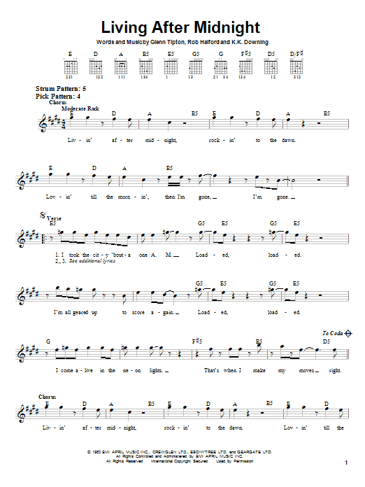 Tablature guitare Living After Midnight de Judas Priest - Tablature guitare facile