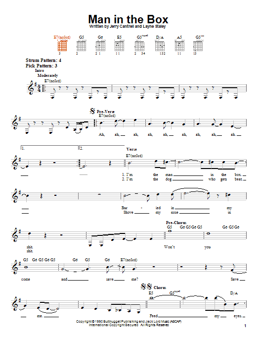 Tablature guitare Man In The Box de Alice In Chains - Tablature guitare facile