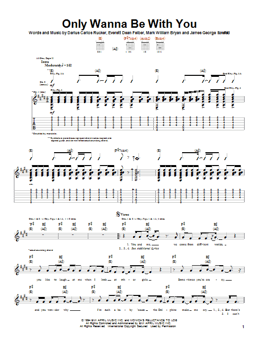 Only Wanna Be With You Guitar Tab By Hootie The Blowfish Guitar