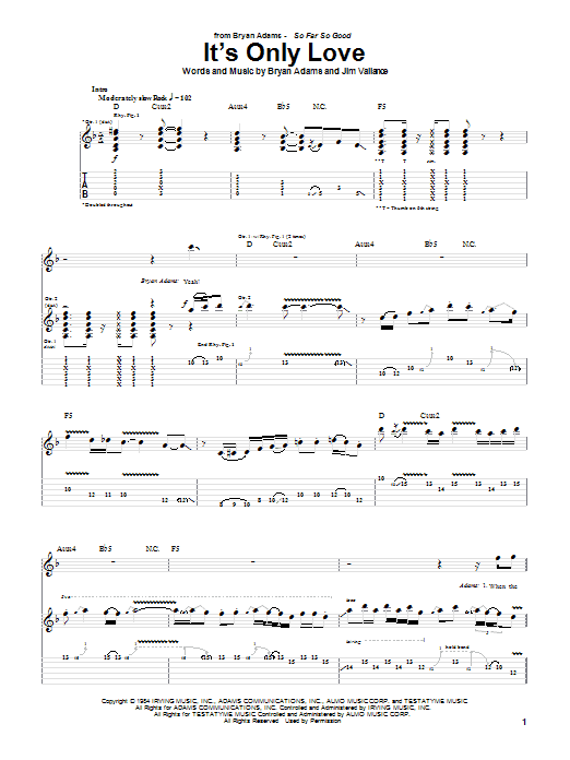 It's Only Love (Guitar Tab)