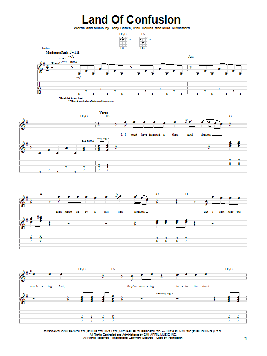 Tablature guitare Land Of Confusion de Genesis - Tablature Guitare