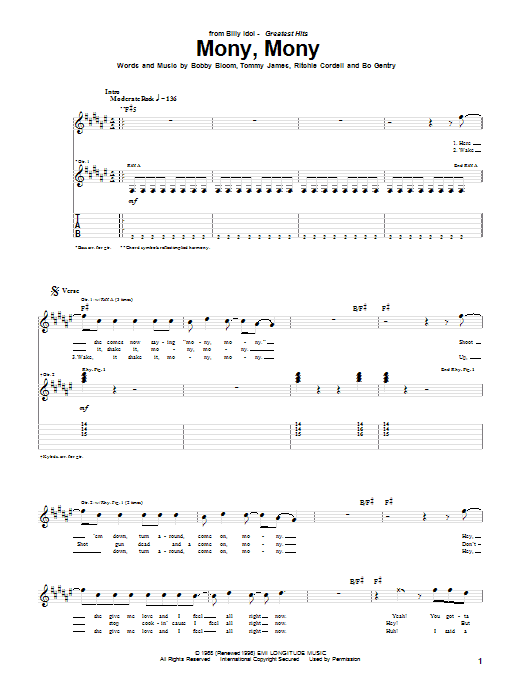 Tablature guitare Mony, Mony de Tommy James and The Shondells - Tablature Guitare