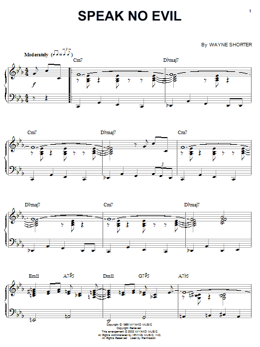 Speak No Evil (Piano, Vocal & Guitar (Right-Hand Melody))