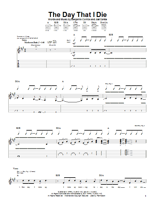 Tablature guitare The Day That I Die de Good Charlotte - Tablature Guitare