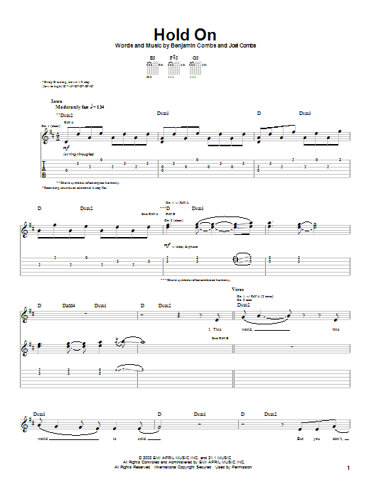 Tablature guitare Hold On de Good Charlotte - Tablature Guitare