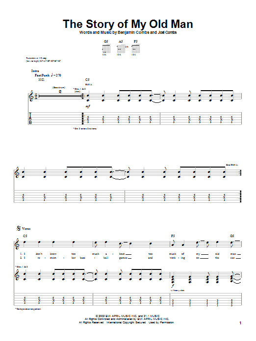 Tablature guitare The Story Of My Old Man de Good Charlotte - Tablature Guitare