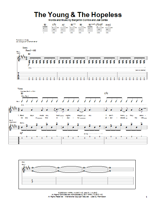 The Young & The Hopeless (Guitar Tab)