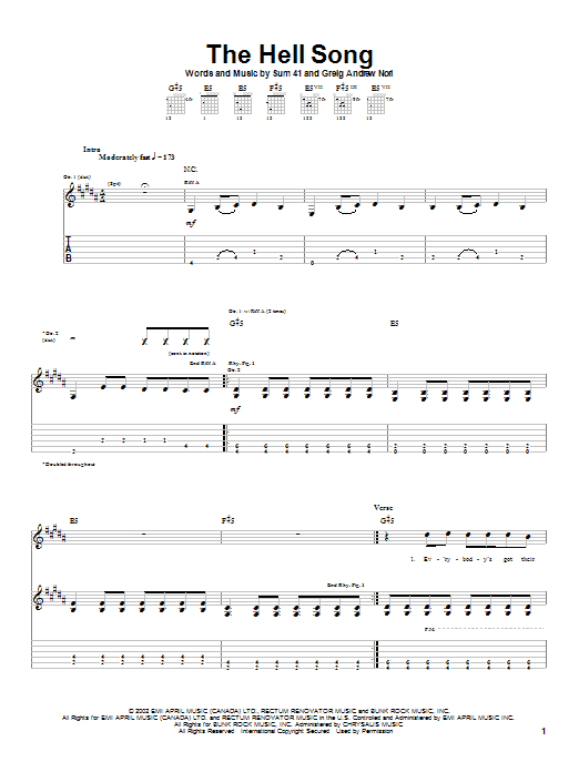 Tablature guitare The Hell Song de Sum 41 - Tablature Guitare