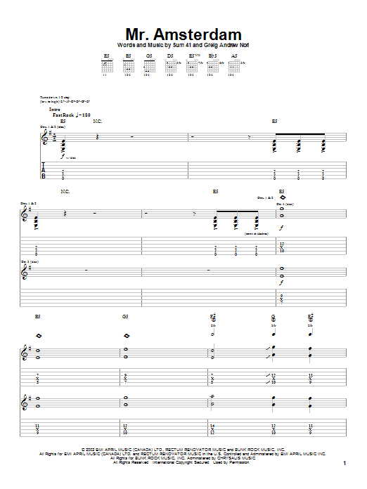 Tablature guitare Mr. Amsterdam de Sum 41 - Tablature Guitare