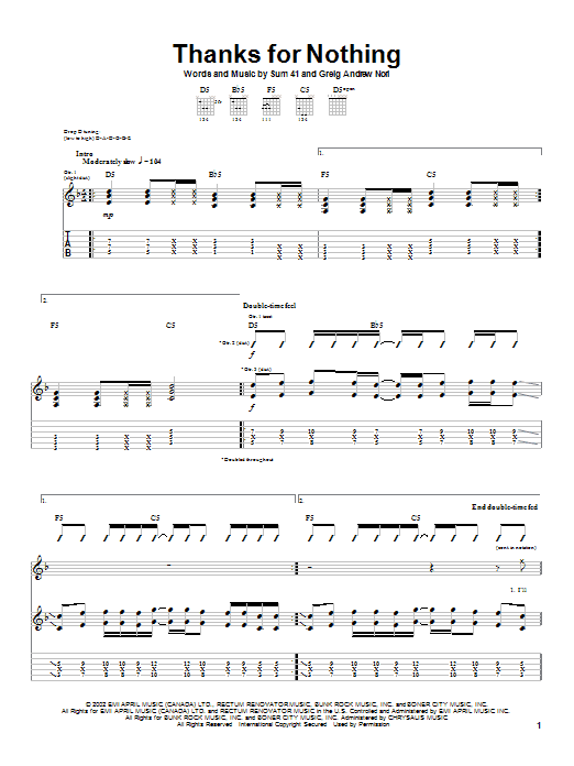 Thanks For Nothing (Guitar Tab)