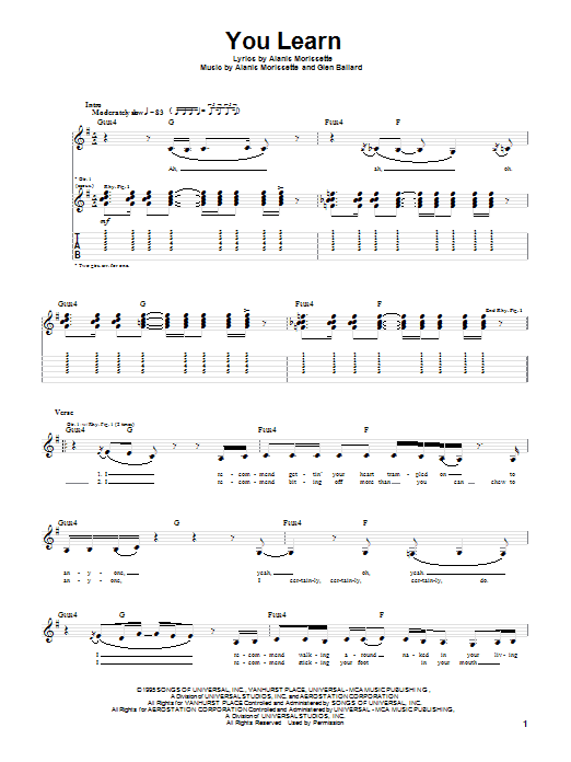 Alanis Morissette - You Learn Bass - AZ Chords