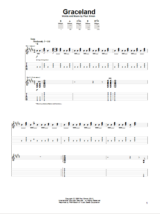 Graceland (Guitar Tab)