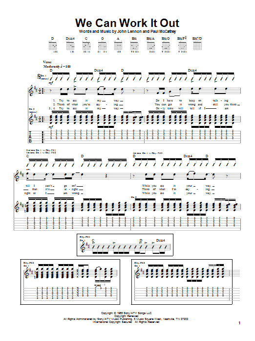Tablature guitare We Can Work It Out de The Beatles - Tablature Guitare