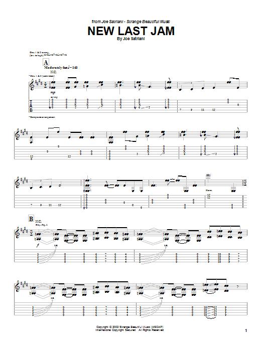 Tablature guitare New Last Jam de Joe Satriani - Tablature Guitare