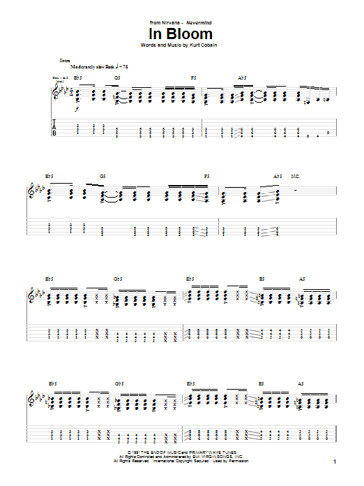 Tablature guitare In Bloom de Nirvana - Tablature Guitare