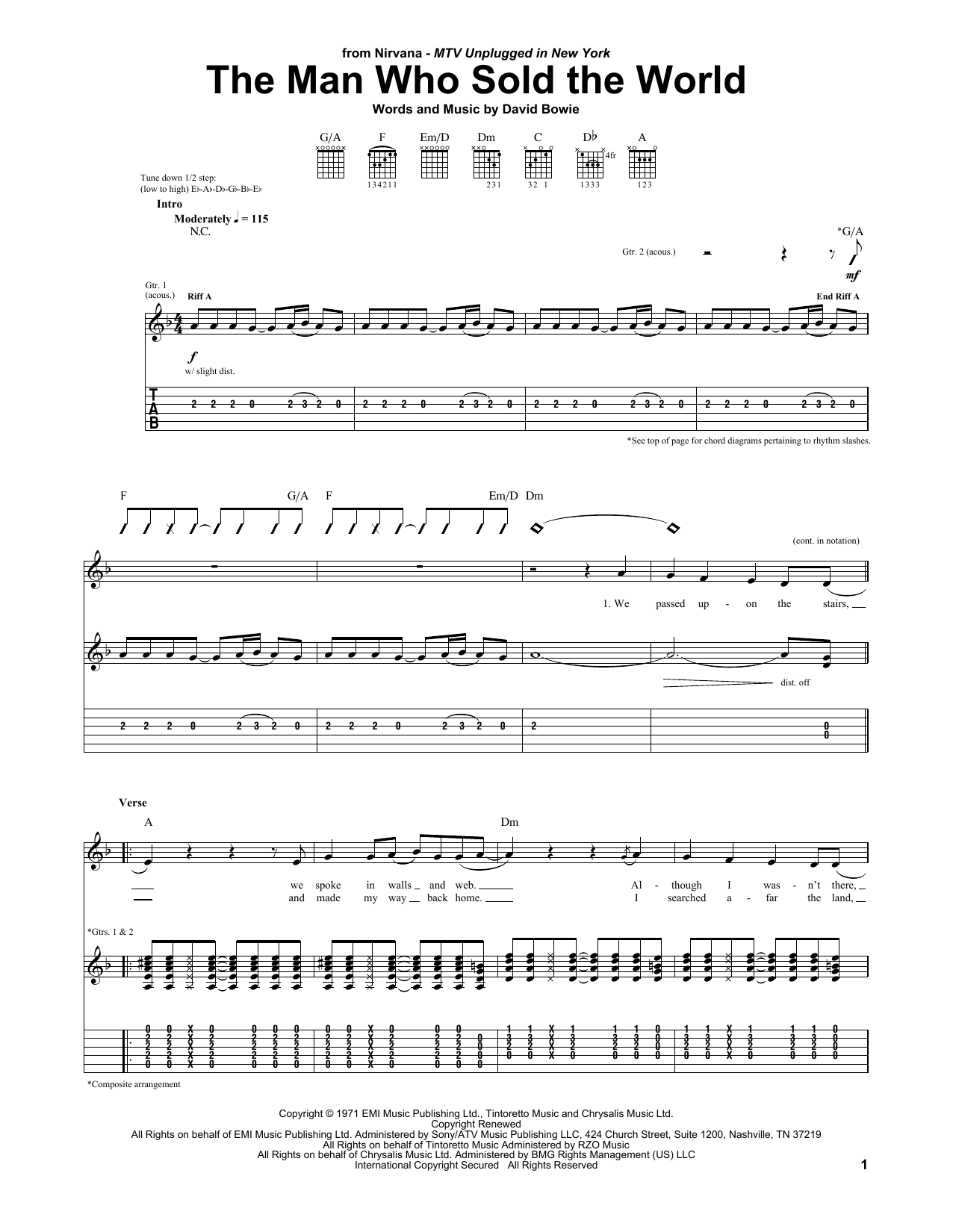 Tablature guitare The Man Who Sold The World de Nirvana - Tablature Guitare