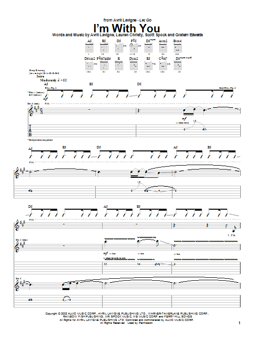I'm With You (Guitar Tab)