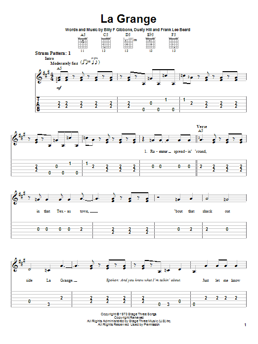 La grange by zz top easy guitar tab guitar instructor - The grange zz top lyrics ...