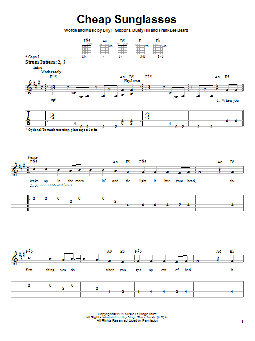 Cheap Sunglasses (Easy Guitar Tab)