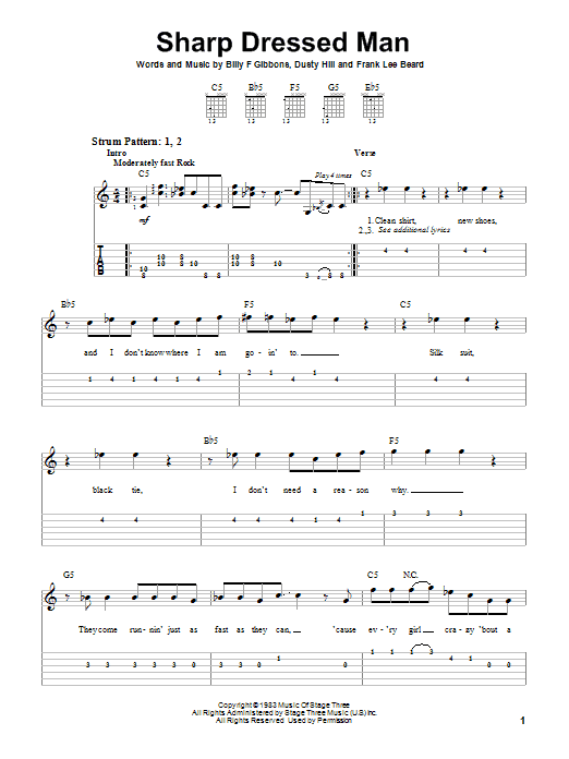Tablature guitare Sharp Dressed Man de ZZ Top - Tablature guitare facile