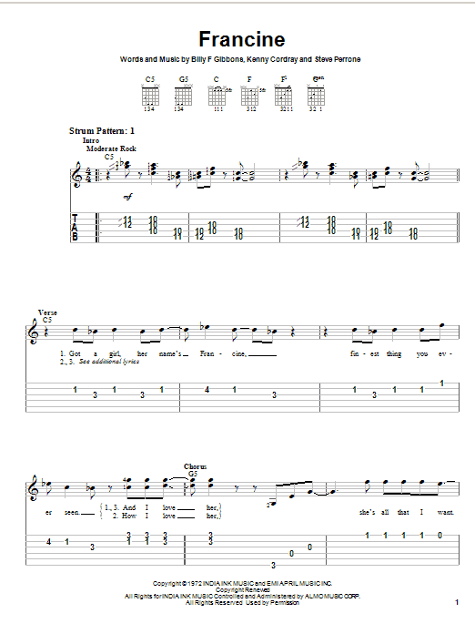 Tablature guitare Francine de ZZ Top - Tablature guitare facile