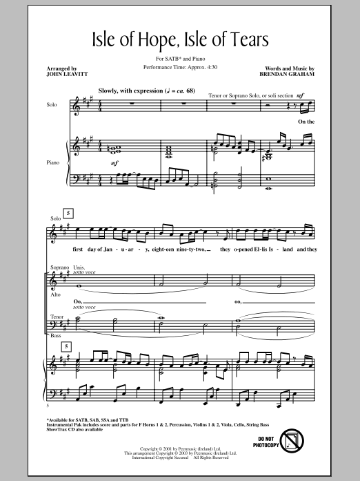 page one of Isle Of Hope, Isle Of Tears (arr. John Leavitt)ASALTTEXT