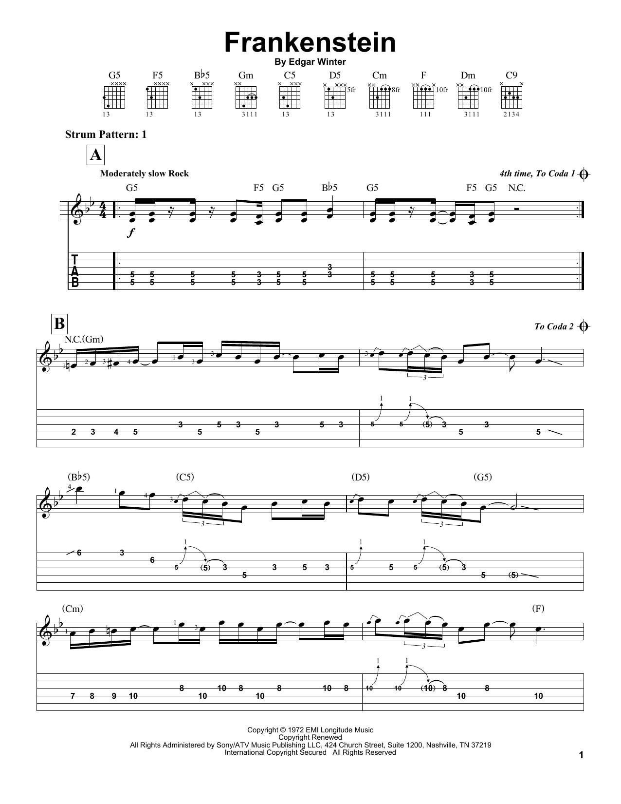 Frankenstein (Easy Guitar Tab)