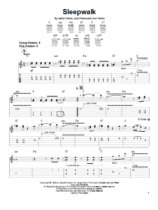 Tablature guitare Sleepwalk de Santo & Johnny - Tablature guitare facile