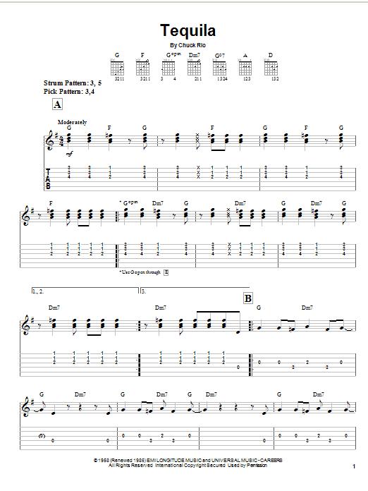 Tequila (Easy Guitar Tab)