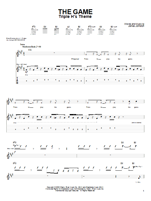 Tablature guitare The Game de Drowning Pool - Tablature Guitare