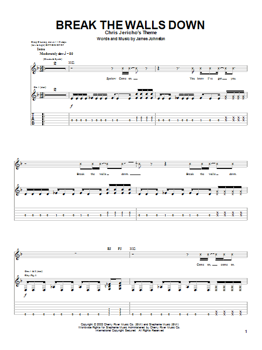 Tablature guitare Break The Walls Down de Sevendust - Tablature Guitare