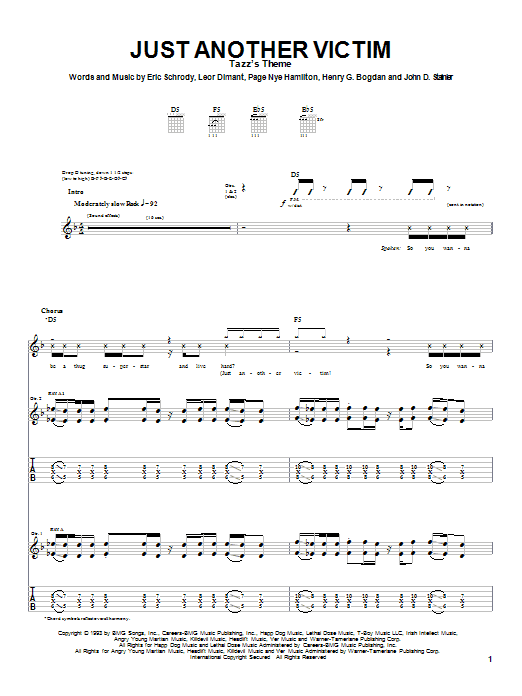 Tablature guitare Just Another Victim de Cypress Hill - Tablature Guitare