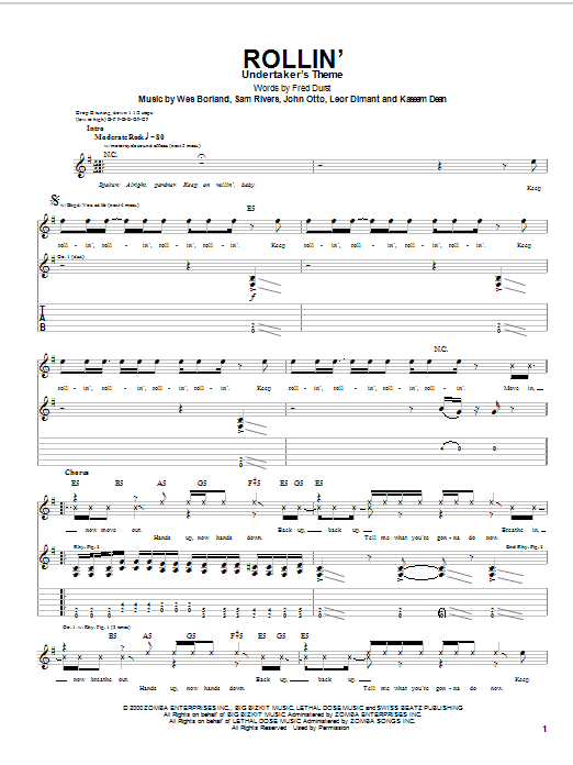 Tablature guitare Rollin' de Limp Bizkit - Tablature Guitare