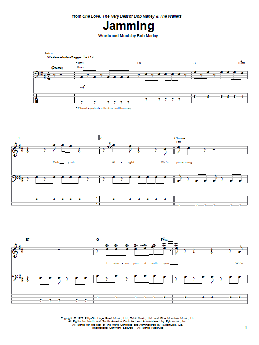 Tablature guitare Jamming de Bob Marley - Tablature Basse