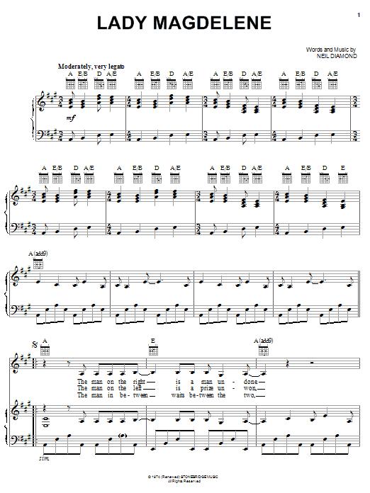 Partition piano Lady Magdelene de Neil Diamond - Piano Voix Guitare (Mélodie Main Droite)