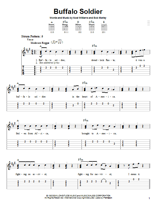 Buffalo Soldier (Easy Guitar Tab)