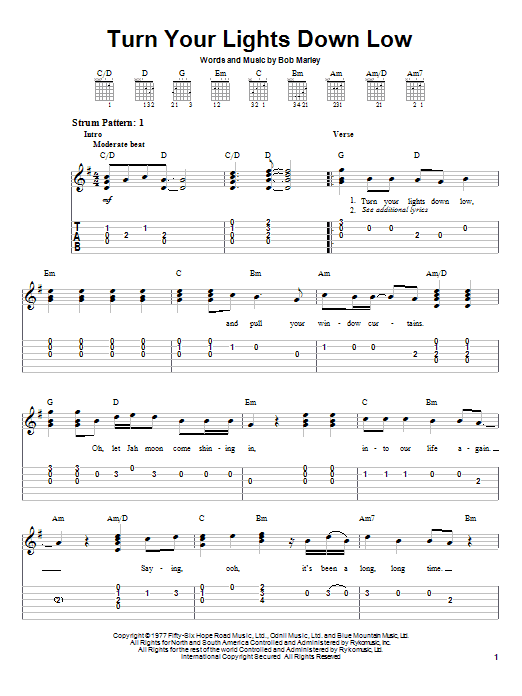 Turn Your Lights Down Low (Easy Guitar Tab)