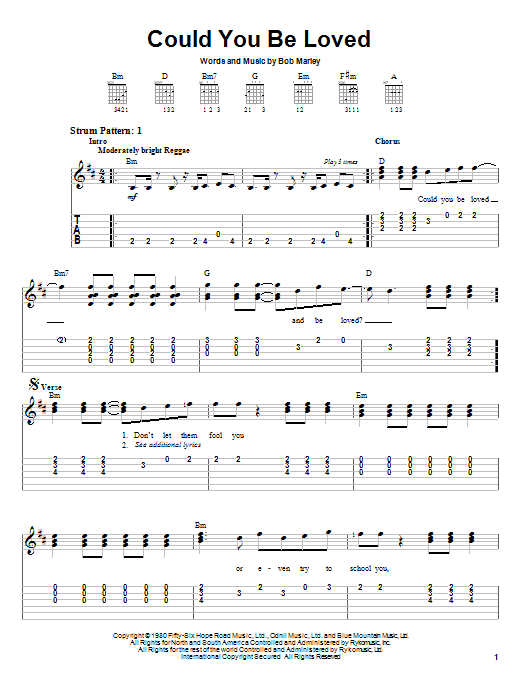 Tablature guitare Could You Be Loved de Bob Marley & The Wailers - Tablature guitare facile